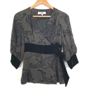 TIBI | Black 3/4 Sleeve Wrap Blouse